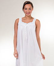 Eileen West Cotton Lawn Sleeveless Ballet Nightgown in White Tropic