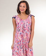 Ellen Tracy Rayon Spandex Flutter Sleeve Nightgown in Paisley Party