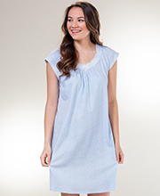 Miss Elaine Short Nightgowns - Flutter Sleeve Gown in Blue Ditsy