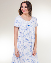 Carole Hochman Long Cotton Rayon Short Sleeve Nightgown in Serenity Blooms