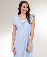 Long Miss Elaine Flutter Sleeve Knit Nightgown in Blue Ditsy