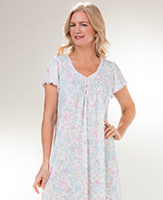 Miss Elaine Nightgown - Long Poly Rayon Knit Flutter Sleeve in Watercolor Garden