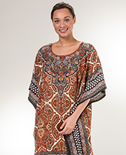 Sante One Size Polyester Long Caftan in Chestnut Paisley