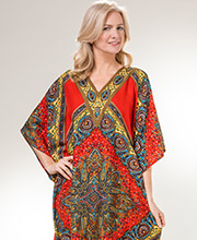 Sante Kaftans - One Size Polyester Long Loungers in Persian Red
