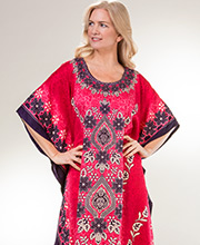 Women's Caftans - Sante Full Length 100% Polyester Kaftan in Pretty Petals