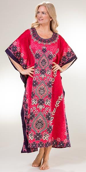 9c66f55c0a Women's Caftans - Sante Full Length 100% Polyester Kaftan in Pretty Petals