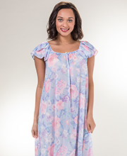 Miss Elaine Tricot Long Flutter Sleeve Nightgown in Spring Garden