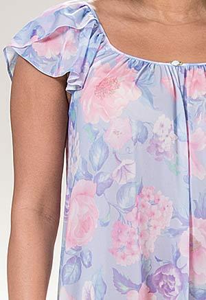 935d2487c270 Miss Elaine Long Flutter Sleeve Nylon Nightgown in Spring Garden