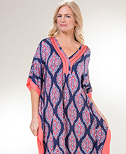 Ellen Tracy Rayon Spandex V-Neck Kaftan Lounger in Coral Chateau