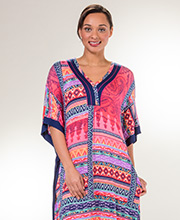 Ellen Tracy V-Neck Kaftan - Rayon Spandex Lounger in Native Coral