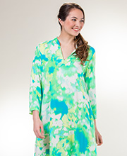 Long Natori Kaftans - Rayon Long Sleeve V-Neck Caftan in Watercolor