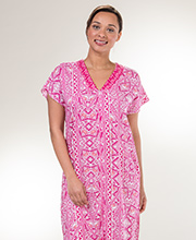 Miss Elaine Short Sleeve Zip Front Long 100% Rayon Robes in Pink Mosaic