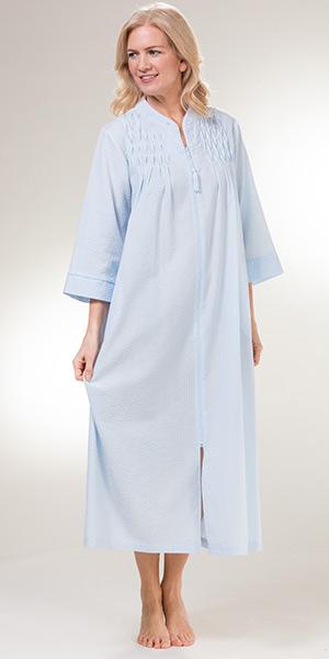 Women s Miss Elaine Seersucker Robe - Long Zip Smocked Plus Robe in Blue 3c2f41874