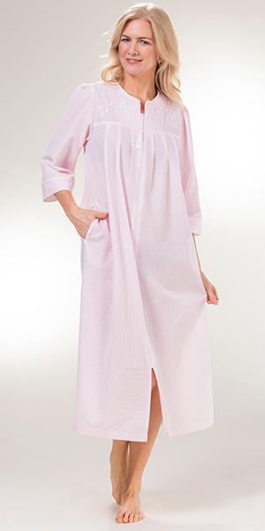 Miss Elaine Seersucker Long Embroidered Zip Robe in Peach Stripe c9fd0ba6f
