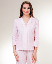 Carole Hochman Pajamas - 3/4 Sleeve Cotton Knit PJs in Pink Stripe
