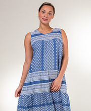 Plus Dresses by La Cera - Cotton Sleeveless Muumuu in Bandana Blue