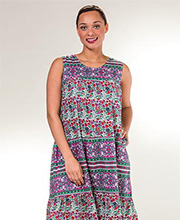 Plus La Cera Dresses - Sleeveless Cotton Muumuu Dress in Berry Pleasant