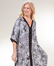 Ellen Tracy Rayon Spandex Zip Kaftan Lounger in Antique Paisley