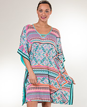Ellen Tracy Rayon Spandex V-Neck Short Kaftan in Bungalow Fiesta