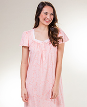 Aria Long Cotton Knit Short Sleeve Nightgown in Dulcet Paisley