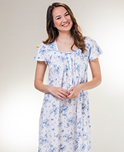 Aria Long Cotton Knit Short Sleeve Nightgown in Efflorescence Blue
