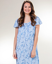 Aria Long Gowns - Cotton Knit Short Sleeve Nightgown in Paisley Sea