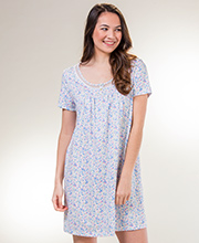 Carole Hochman Cotton Knit Short Sleeve Nightshirt in Floral Ditsy