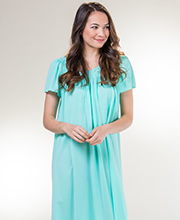 Miss Elaine Classics Long Flutter Sleeve Nylon Nightgown in Aquamarine