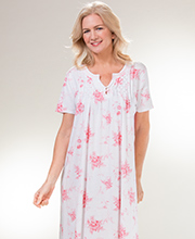 Carole Hochman Cotton Long Nightgown - Short Sleeve in Floral Spray