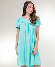 Short Miss Elaine Classics Short Sleeve Nylon Nightgown in Aquamarine
