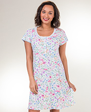 Miss Elaine Sleepwear - Short Sleeve Waltz Nightgown in Wildflowers