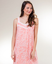 Carole Hochman Sleeveless Long Cotton Knit Nightgown in Coral Paisley