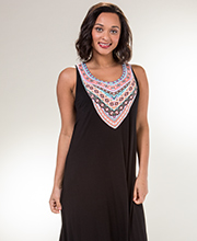 Ellen Tracy Sleeveless Rayon Racerback Nightgown in Tribal Black