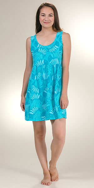 Sun Moda By Icantoo Coverups Jersey Cotton Babydoll Dress In Aqua Cove