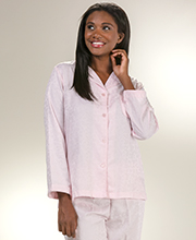Brushed Back Pajamas - Miss Elaine Satin Pajamas in Pink Leaves