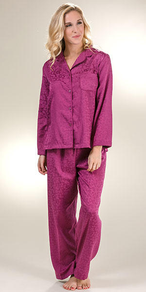 951024a49a Brushed Back Satin Pajamas - Miss Elaine Long Sleeve in Plum Leaves