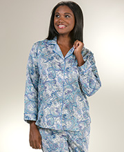Miss Elaine PJs - Brushed Back Satin Long Sleeve in Royal Paisley