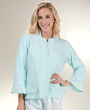 Miss Elaine Brushed Terry Fleece Zip Front Bed Jacket  - Minty Blue