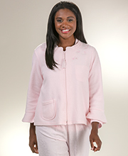 Miss Elaine Bed Jacket - Brushed Terry Fleece Zip Front in Pink