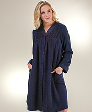 Miss Elaine Robes - Brushed Terry Fleece Snap Front Robe in Navy