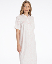 Calida Cotton Knit Button Front Short Sleeve Gown - Rose Garden