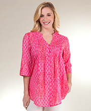 La Cera Cotton 3/4 Sleeve Button Front Tunic Top in Prairie Pink