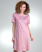 Calida Cotton Knit Short Sleeve Sleep Shirt in Vintage Rose