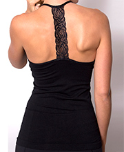 "Coobie Lace ""T"" Strap Camisole in Black"