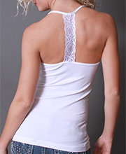 "Coobie Camis - Lace ""T"" Strap Camisole in White"
