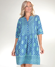 La Cera Beach Tunic - 2/3 Sleeve 100% Cotton Coverup in Seaside Charm