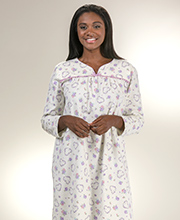 Kayanna Nightgowns - Cotton Flannel Long Sleeve Gown in Ivory Sweetheart