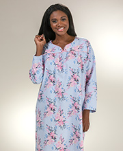 Flannel Nightgowns - Kayanna Long Sleeve Cotton Gown in Pink Bouquet