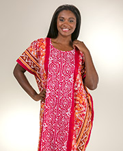 Beach Loungers - Long One Size Cotton Kaftan in Fuchsia Mariachi