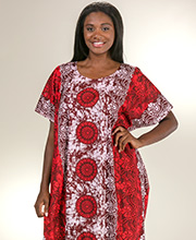 Long Cotton Kaftans - Plus One Size Caftan in Red Atlantis